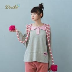 【Dailo】貓咪口袋棉質長袖-上衣(三色)