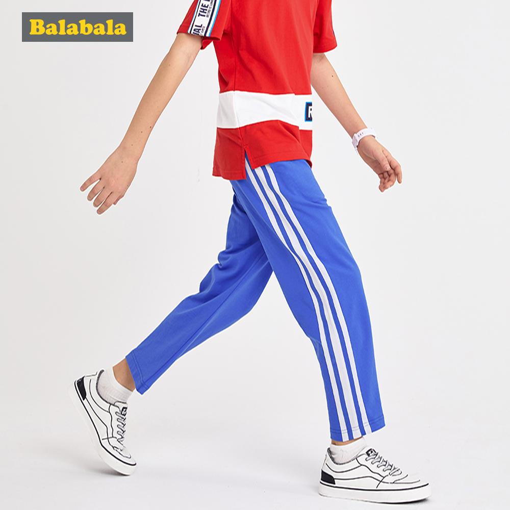 Balabala巴拉巴拉-運動風寬鬆感側邊條九分長褲-男(3色)