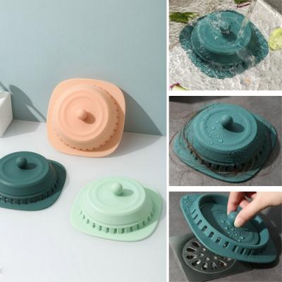 (2入組)矽膠按壓式防堵防臭地漏蓋 加贈便攜式洗手香皂紙(20片/盒)