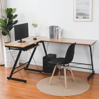 樂嫚妮 書桌/辦公桌/L型電腦桌/工作桌/會議桌-黃木紋-附主機架-寬158深120高75cm