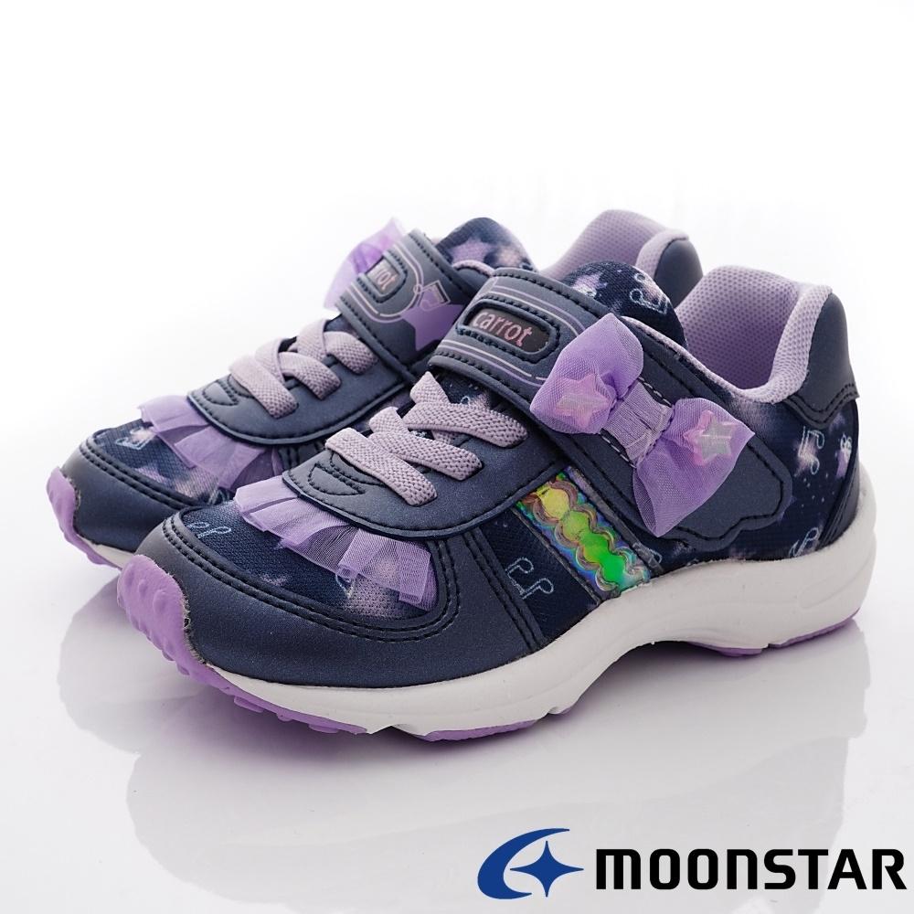 日本Carrot機能童鞋 2E蕾絲蝴蝶結運動鞋款 TW2515深藍(中小童段)