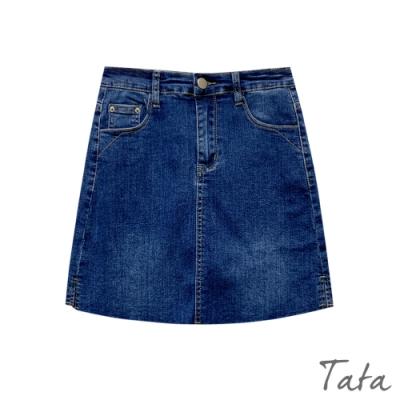 下擺抽鬚開岔牛仔褲裙 共二色 TATA-(S~L)