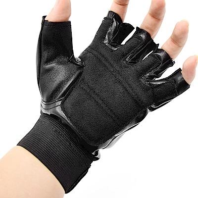 防護皮革運動手套 健身手套 透氣止滑手套-(快)