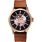 RELAX TIME RT62系列 人動電能地球腕錶-玫塊金x咖啡45mm