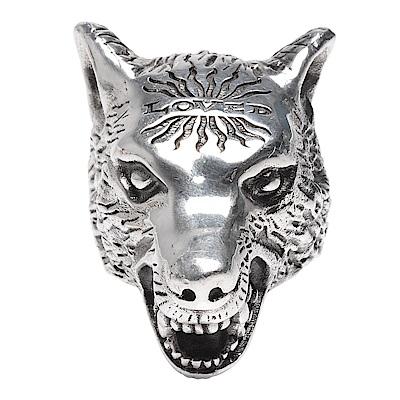 GUCCI Anger Forest系列狼頭造型寬版戒指(銀)