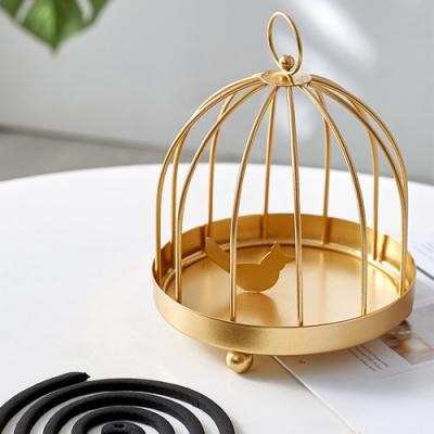【Meric Garden】復古創意手工金屬蚊香盤/薰香盤/小物收納盤(黑色鳥籠)