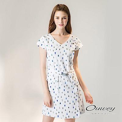 OUWEY歐薇 幾何印花V領洋裝(白)