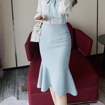 設計所在Lady-高腰中長簡約魚尾裙(S-XL可選)