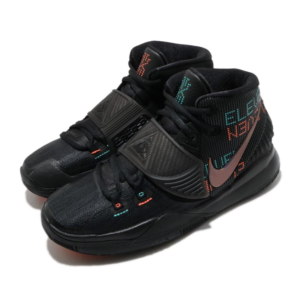 Nike 籃球鞋 Kyrie 6 運動 女鞋 避震 包覆 明星款 魔鬼氈 大童 球鞋 黑 綠 BQ5599006