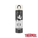 THERMOS膳魔師 金屬灰米奇 不鏽鋼真空保溫瓶0.4L(JNI-401MC-MGY)
