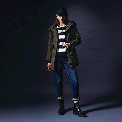 BIG TRAIN 短毛裡鋪棉長版連帽外套-女-綠