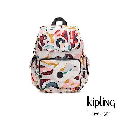 Kipling 音樂派對幾何塗鴉拉鍊掀蓋後背包-CITY PACK