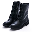 Camille's 韓國空運-正韓-綁帶拉鍊中筒馬汀馬丁短靴-黑色