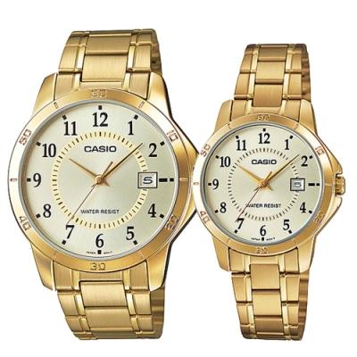 CASIO 城市之戀金時尚日期指針對錶-黃面(MTP-V004G-9B+LTP-V004G-9B)