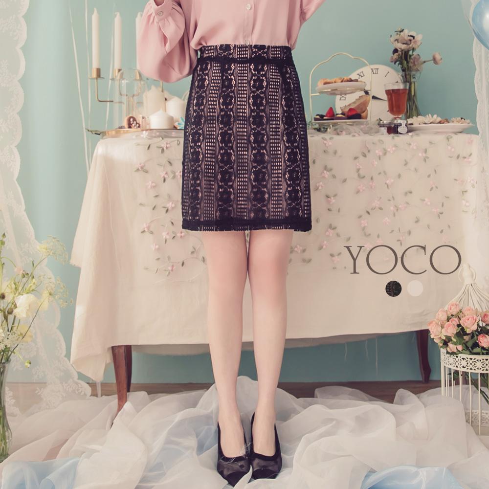 東京著衣-YOCO  浪漫柔美鏤空蕾絲短裙-XS(共兩色)