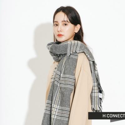 H:CONNECT 韓國品牌 配件 -抽鬚格紋圍巾-黑