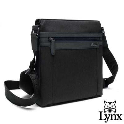Lynx - 美國山貓帥氣牛皮mix防潑水材質斜背側背包-共2色