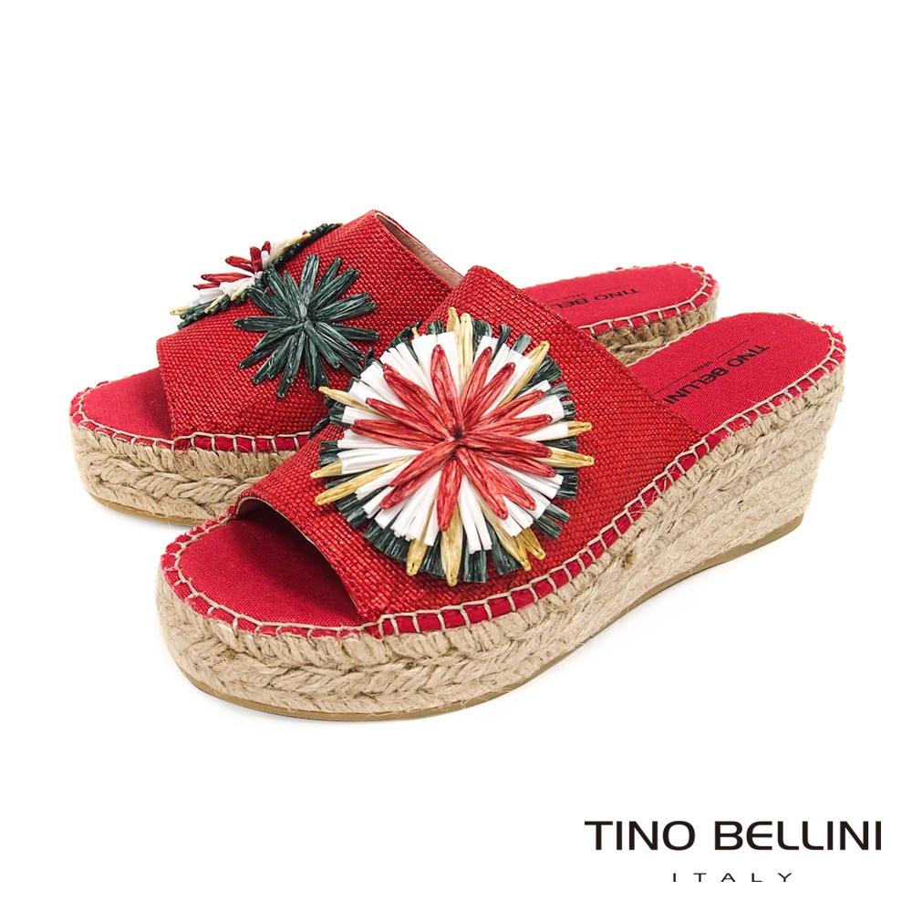 Tino Bellini 西班牙進口多彩花葉麻編楔型涼拖鞋 _ 紅