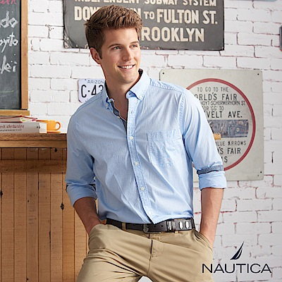 Nautica簡約素面造型長袖襯衫-藍