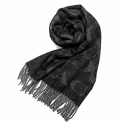 COACH 滿版LOGO羊毛混絲披肩圍巾 黑灰