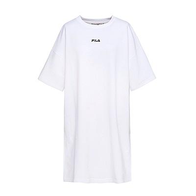 FILA #漢城企劃 女款純棉長版T恤-白 5TET-1418-WT