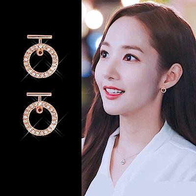 梨花HaNA 韓國925銀針金秘書為何那樣點鑽圓飾耳環玫瑰金