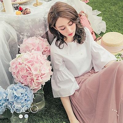 東京著衣-yoco 韓風輕甜娃娃傘袖鑲珍珠圓領上衣-S.M.L(共二色)