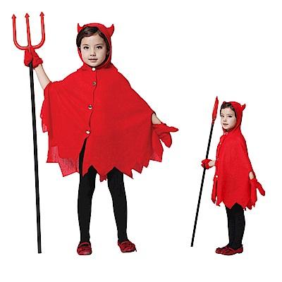 摩達客萬聖節派對-可愛紅色小魔女惡魔牛角(三件組合)