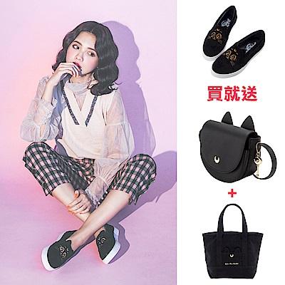 (買鞋送雙包)Grace gift-美少女戰士月亮飾釦絨布懶人鞋 黑