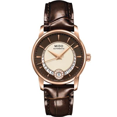 MIDO 美度 Baroncelli 永恆系列鑽石月彎女錶-咖啡/33mm