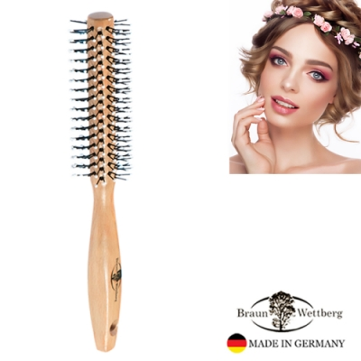 BRAUN WETTBURG珀薇德國製35MM FSC原木珠珠纖維熱塑捲髮梳 (一入)