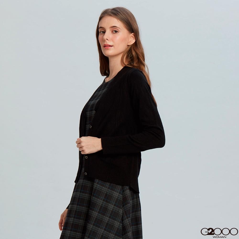 G2000素面長袖針織外套-黑色