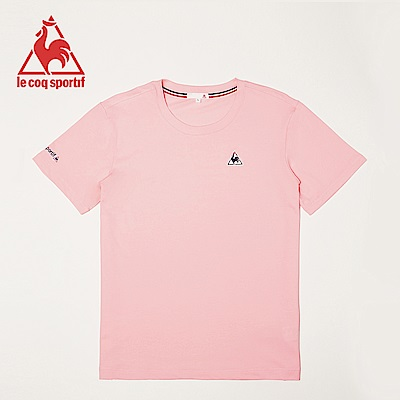 le coq sportif 法國公雞牌經典印花圓領短袖T恤 男女-粉紅