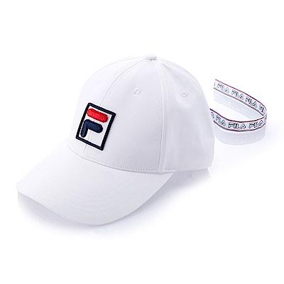 FILA時尚 LOGO 織帶帽-白 HTS-5101-WT