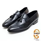 AMBER紳士品味素面編織流蘇紳士樂福鞋 -黑色