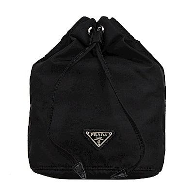 PRADA 經典三角鐵牌尼龍束口造型多功能包/化妝包(黑)