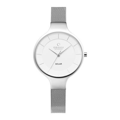 OBAKU 精美女性太陽能腕錶-銀-V221LRCWMC-32mm