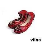 viina 拼接黑圓框金LOGO摺疊鞋 - 紅