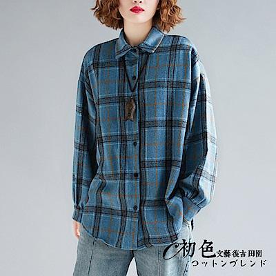 文藝格紋中長板寬鬆襯衫-共2色(F可選)   初色