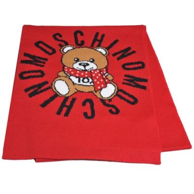 MOSCHINO 義大利製TOY圍巾小熊字母LOGO圖騰混羊毛圍巾(紅色)