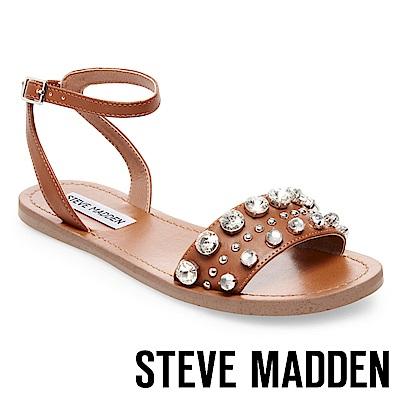 STEVE MADDEN-ANNMARIE 細踝帶鑲嵌一字帶涼鞋-咖啡