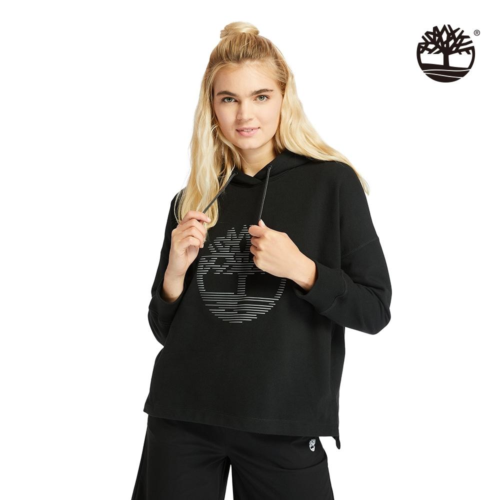 Timberland 女款黑色反光樹形LOGO寬鬆連帽上衣 A2FDH