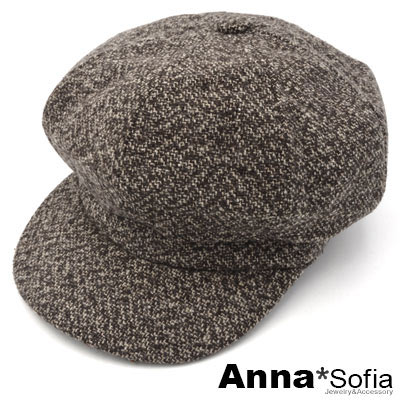 AnnaSofia 雪呢單色 毛呢報童帽貝蕾帽(褐咖系)