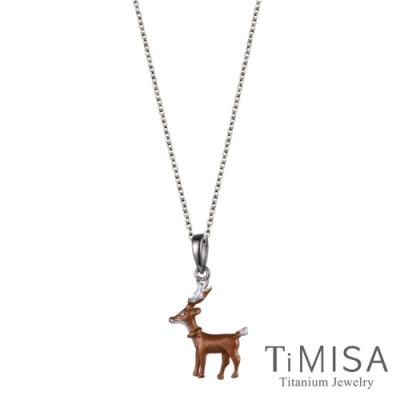 TiMISA 小鹿班比 純鈦(極細鎖骨)項鍊(B)