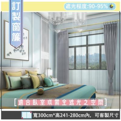 【宜欣居傢飾】熱情森巴-壓花素色遮光訂製窗簾(灰)W300*H241-280cm以內*2片/台灣製