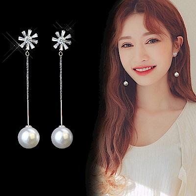 梨花HaNA  韓國925銀針太陽花璀璨珍珠晶瑩耳線耳環