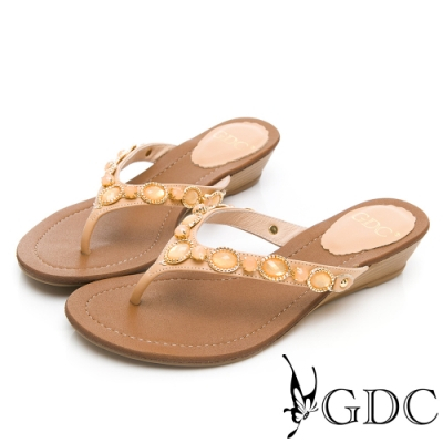 GDC-夏日真皮寶石夾腳拖鞋-卡其色