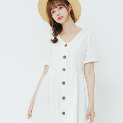 H:CONNECT 韓國品牌 女裝-小V領排扣長洋裝-白