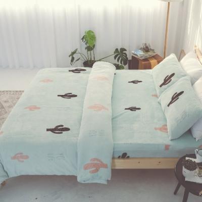 BUHO 極柔暖法蘭絨雙人床包三件組(薄荷綠洲)