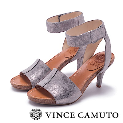 Vince Camuto 拼接寬版木紋魚口高跟涼鞋-灰色